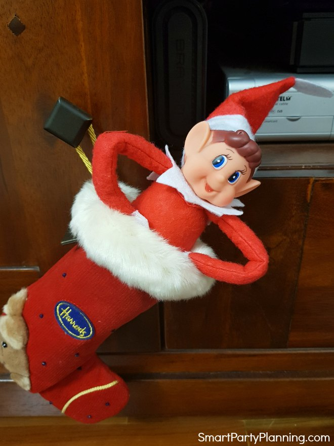 Elf sits in a stocking
