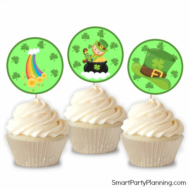 St Patricks day printable cupcake toppers