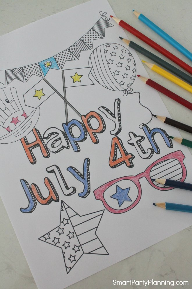 Happy July 4th coloring page