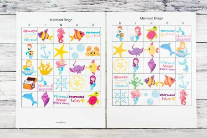 Printable mermaid bingo