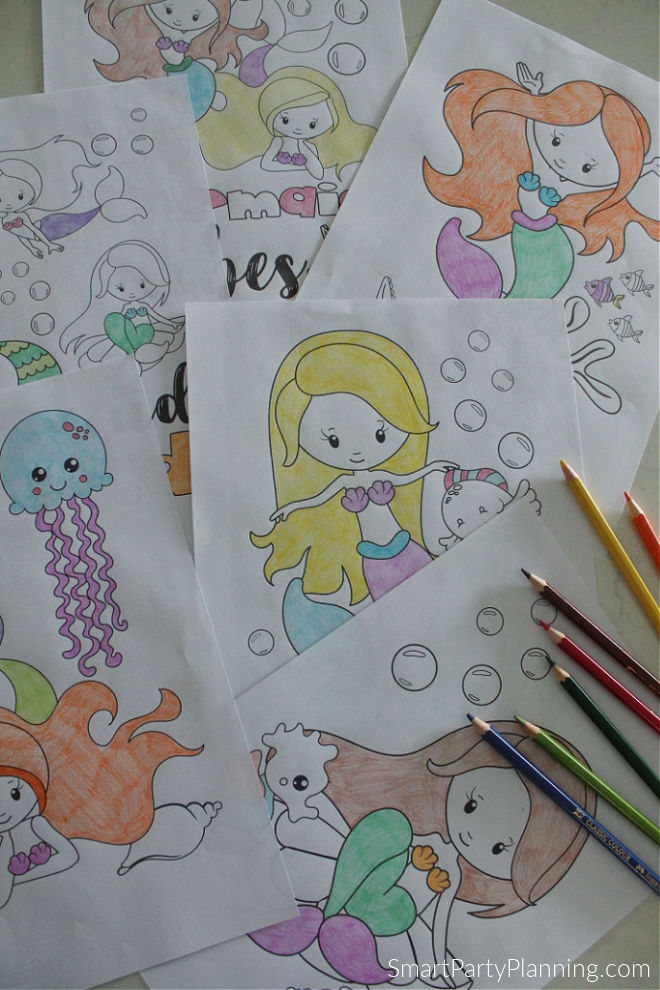 6 mermaid coloring pages