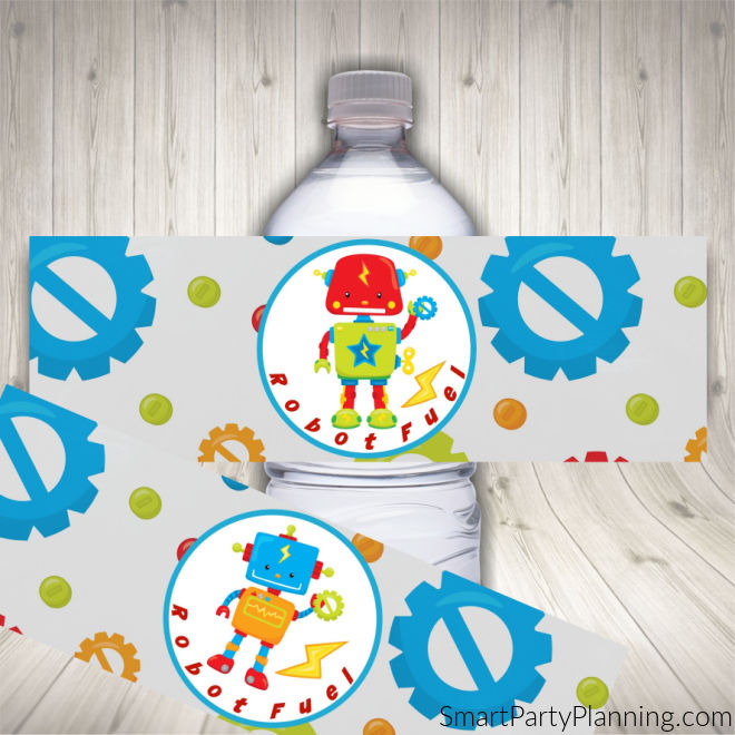 Robot Birthday Party Water Bottle Labels