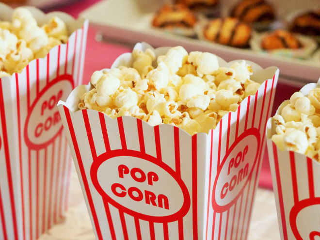 movie party with popcorn