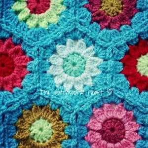patchworkheart turquoise crochet blanket