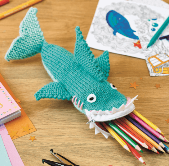 Free shark knitted pencil case