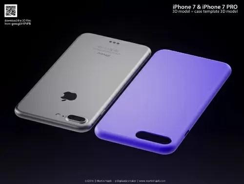 iPhone7 Pro本体とケースの3D画像