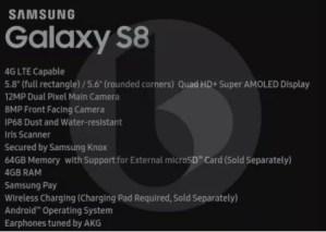 Galaxy S8のスペック