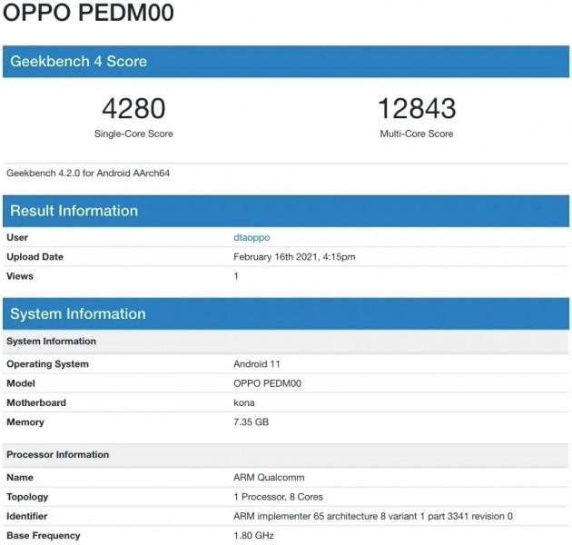 Oppo Find X3 Geekbench