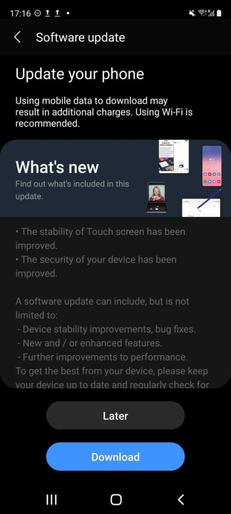 Samsung Galaxy S20 FE 5G Touchscreen-Update
