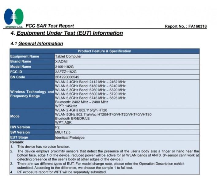 Xiaomi Mi Pad 5 FCC-Zertifizierung