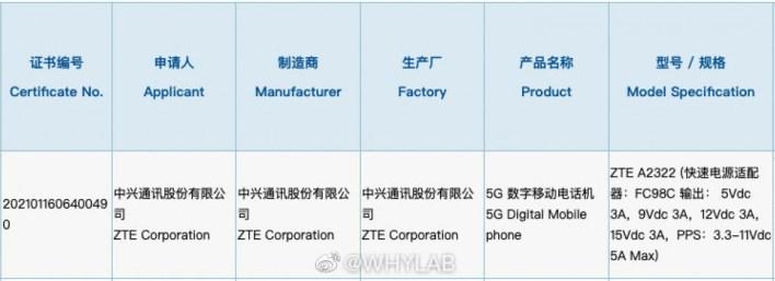 ZTE Axon 30 3C-Zertifizierung