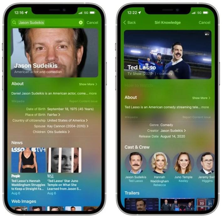 Apple iOS 15 Spotlight Rich Results