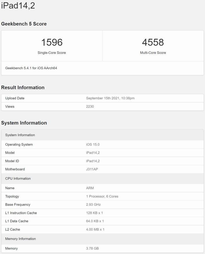 Apple iPad mini 6 2021 Geekbench