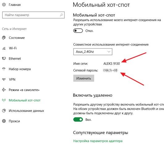 Nome rete Wi-Fi e password
