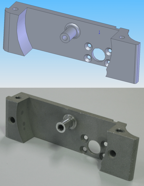 CAD model and CNC machined part