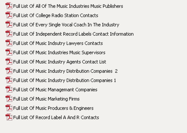 Full list music industry contacts