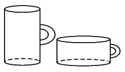 две кружки, объём, цилиндр