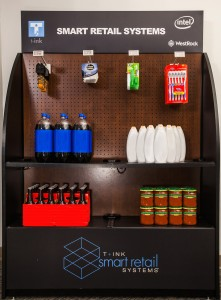 WestRock endcap merchandising display featuring T+ink smart shelf and smart peg technology (Photo: Business Wire)
