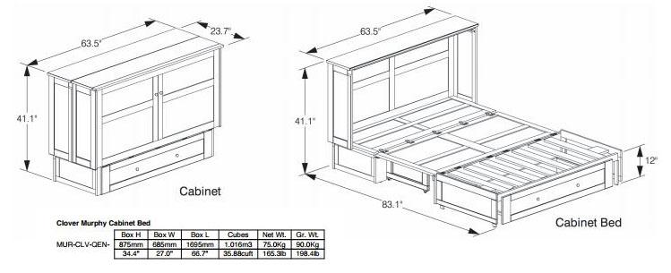 murphy bed cabinet specifications. Black Bedroom Furniture Sets. Home Design Ideas