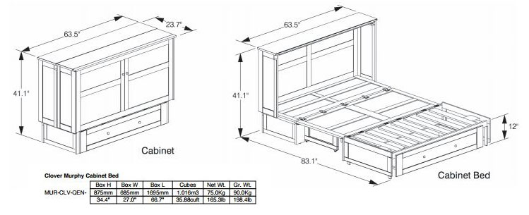 Cabinet Bed and Chest Bed Dimensions