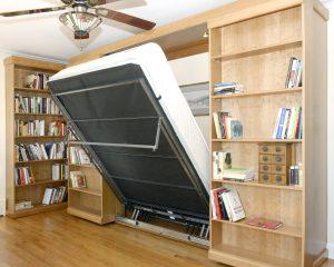 Murphy Bed Library Bed - Guest Bed Solution - SmartSpaces.com - Hidden Bed Descending