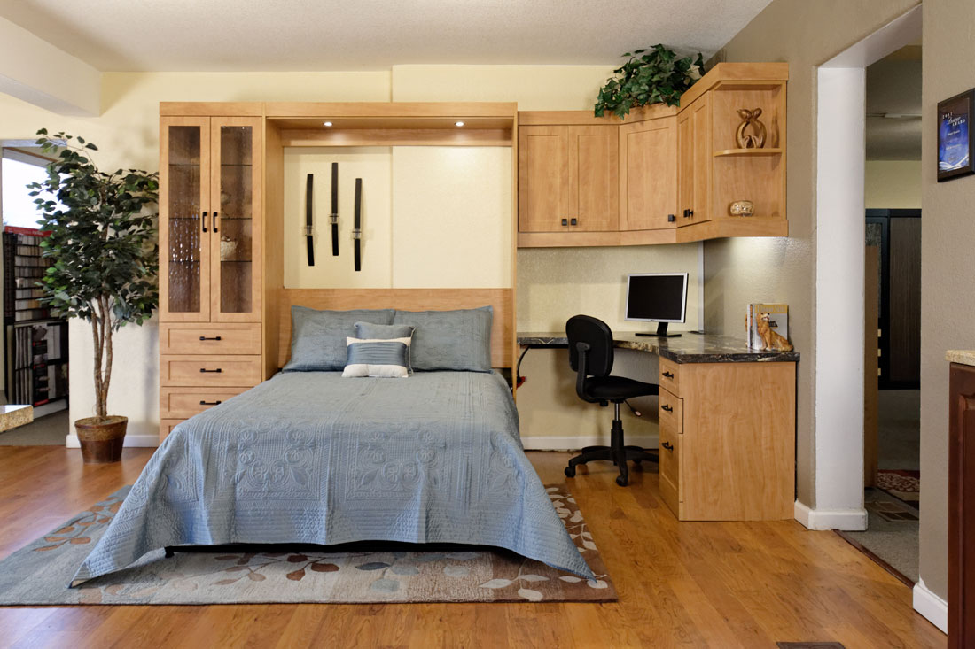 Murphy Bed + Office Space Solution, With Cabinets, Drawers, Shelves, Desk  Space