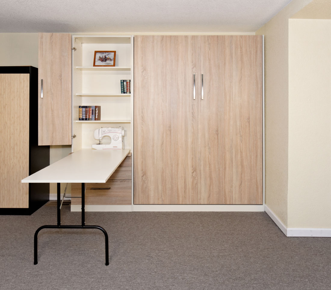 Murphy Wall Bed With Cabinet, Drawers, Fold Down Table  Perfect For