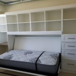 White finish, murphy bed, side, custom cabinets, drawers, open