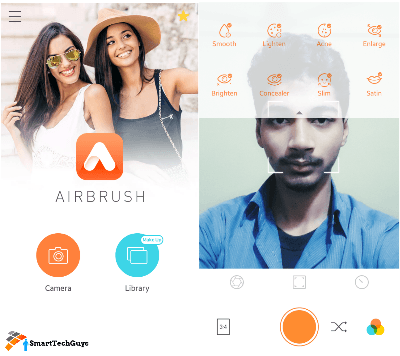 AirBrush Selfie camera interface