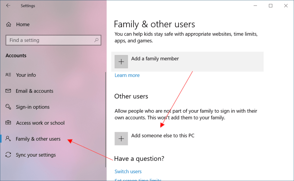 How to create a New User Account on Windows 10