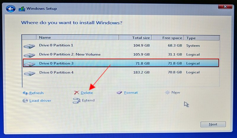 How to make Partition in Windows 10 while installing