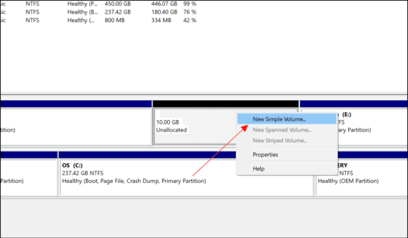 make a new Partition in Windows 10