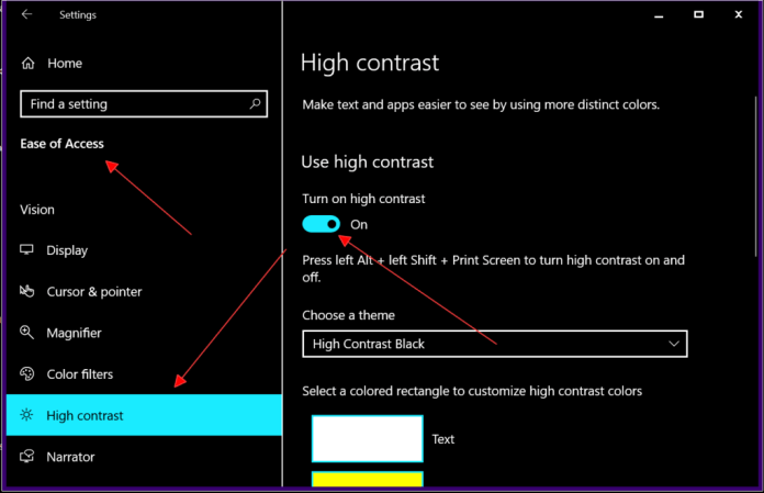 How to Turn off High Contrast in Windows 10
