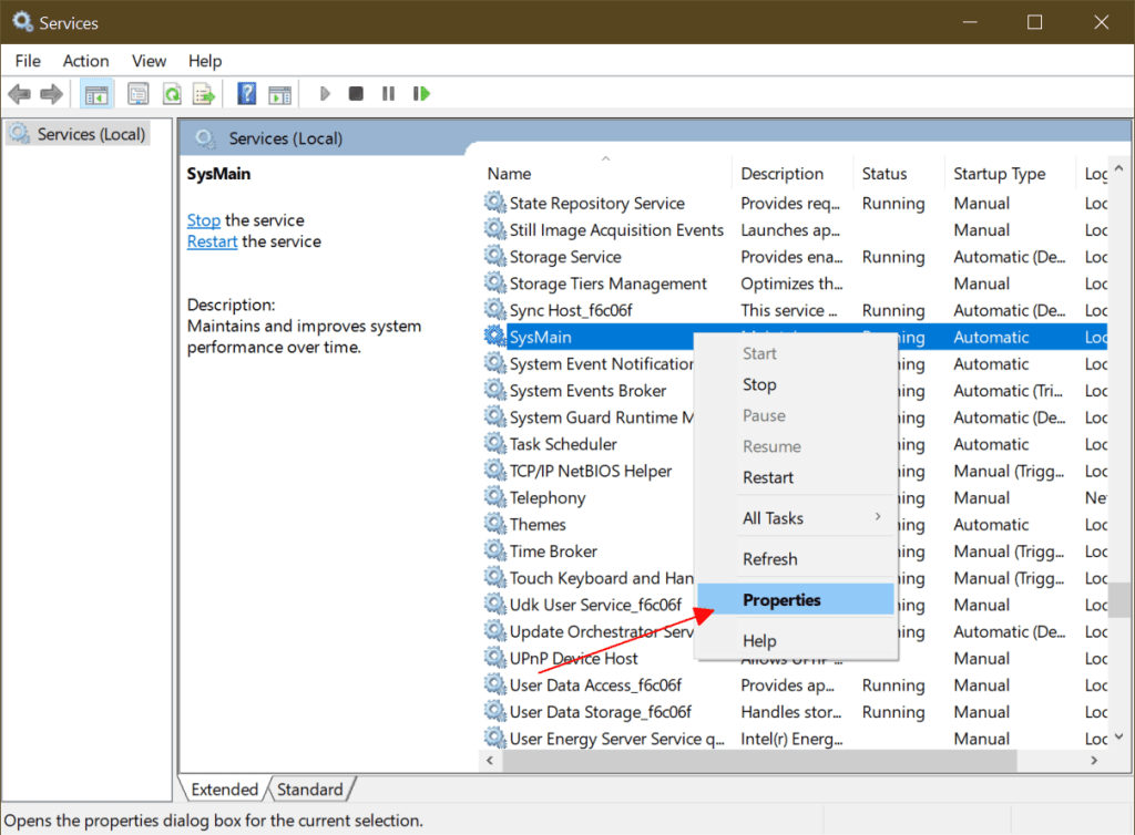 Service Host SysMain causing High Disk Usage in Windows 10