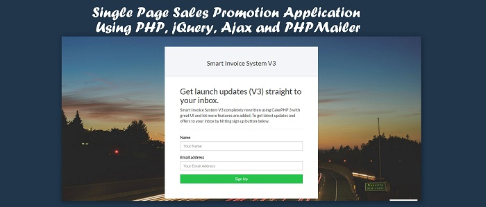 Single Page Sales Promotion Application Using PHP, jQuery, Ajax and PHPMailer