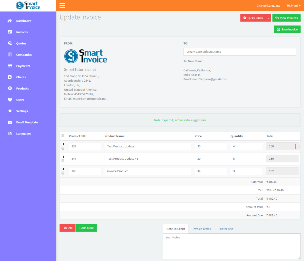 Smart Invoice System Version Using Bootstrap JQuery PHP MySQL - Invoice 3
