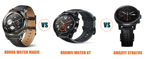 honor watch magic vs huawei watch gt vs amazfit stratos specs and features compared