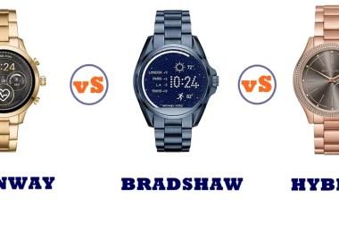 michael kors access runway vs bradshaw vs hybrid compared