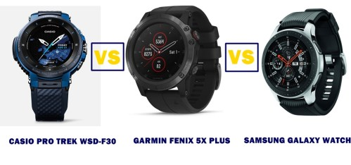 Casio Wsd F30 Vs Garmin Fenix 5x Plus Vs Samsung Galaxy Watch Compared