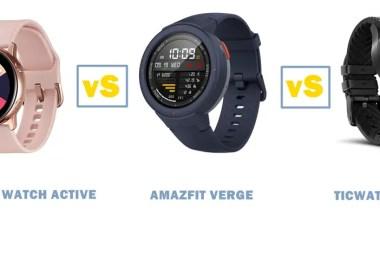 samsung galaxy watch active vs amazfit verge vs ticwatch pro
