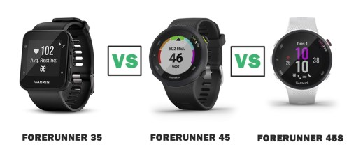 garmin forerunner 35 vs 45 vs 45S compared