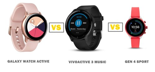 samsung galaxy watch active vs garmin vivoactive 3 music vs fossil gen 4 sport compared