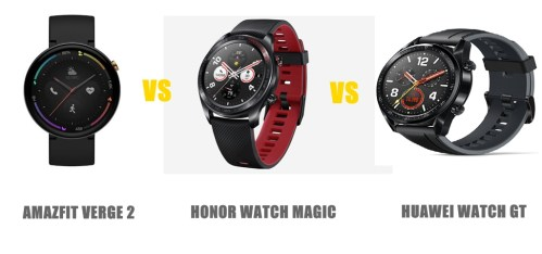 amazfit verge 2 vs honor watch magic vs huawei watch gt