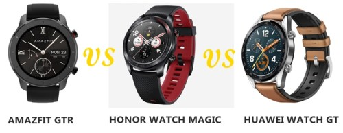 amazfit gtr vs honor watch magic vs huawei watch gt