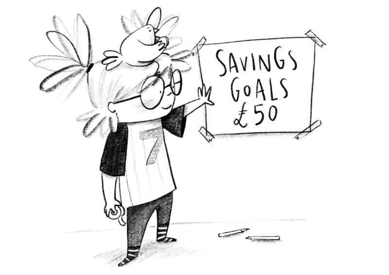 Illustration of Marty with her savings goal - A Smart Way To Start