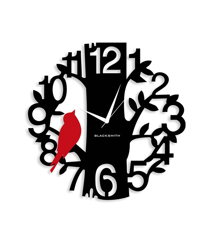 Blacksmith Red & Black Laminated Aluminium Sparrow On Tree Wall Clock