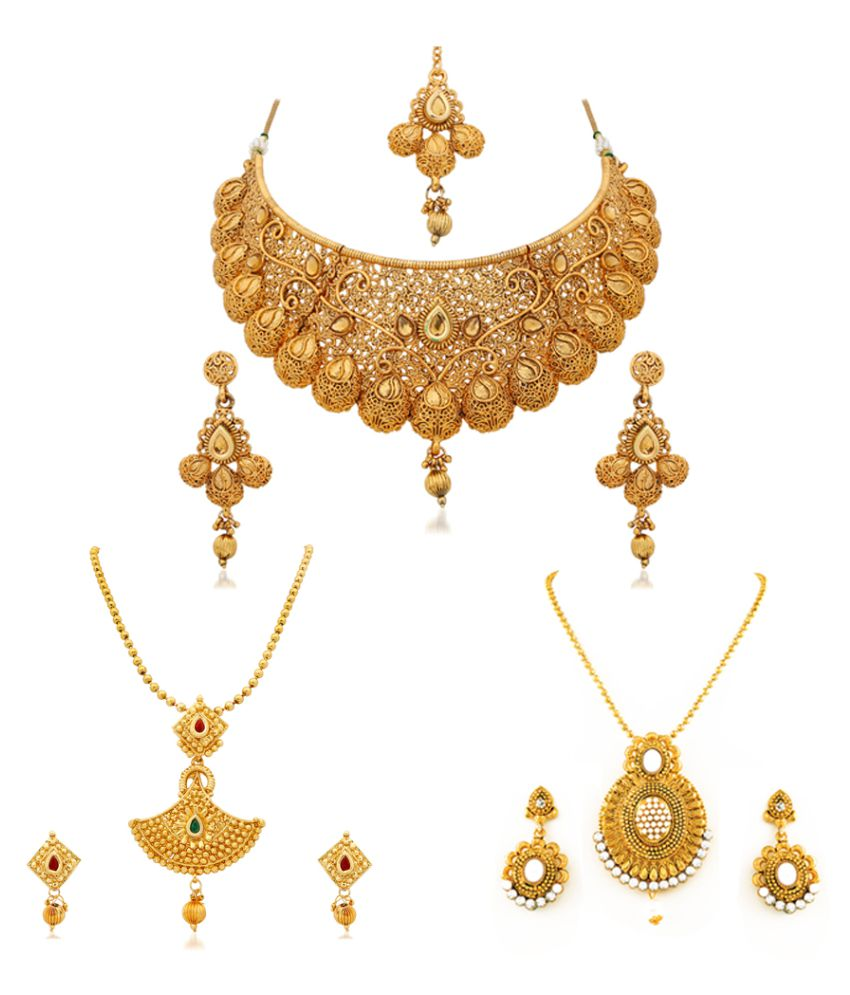 RG Fashions Jewellery Golden Necklace Set - Set of 3