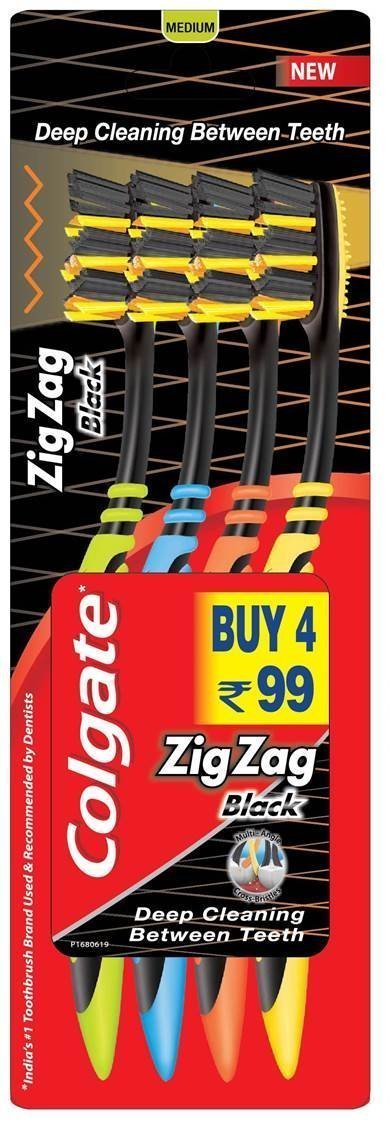 Colgate Zig Zag Black Medium Toothbrush Saver Pack - 4 Brushes