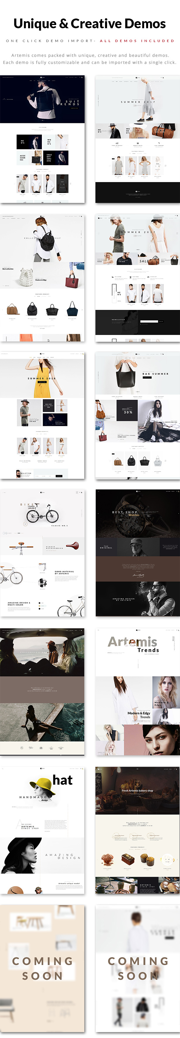 Artemis WooCommerce WordPress Theme Demos