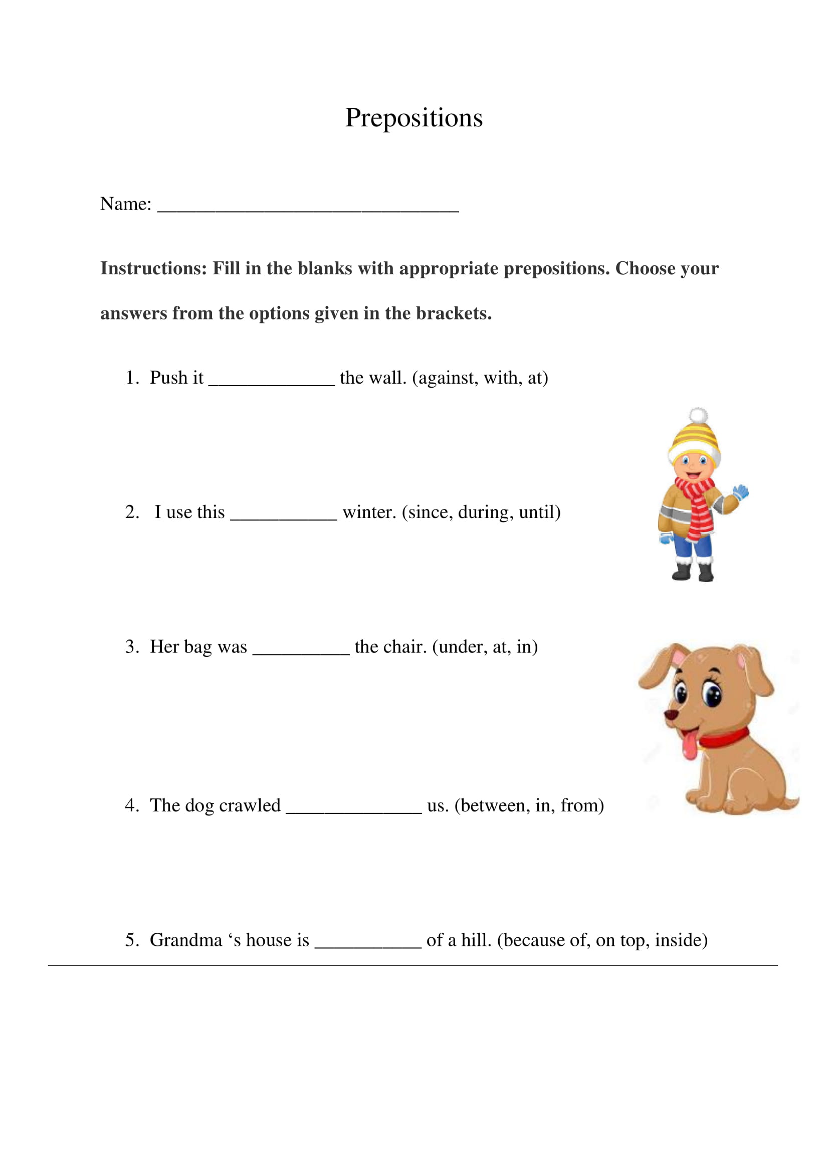 Prepositions Exercise 14